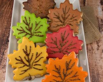 Fall Leaf Cookies, Thanksgiving Cookies - 12 Decorated Sugar Cookies