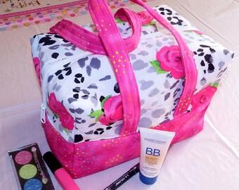 Pink Roses Animal Print - Lunch Bag, Makeup, Multi-Use Bag, Purse