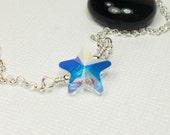 Star Iridescent Twinkle - Handmade Necklace – Crystal Necklace - Custom Jewelry – Sterling Silver Necklace