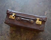 English 19th Century Leather Suitcase | Leather Suitcase | Old Suitcase | Suitcase