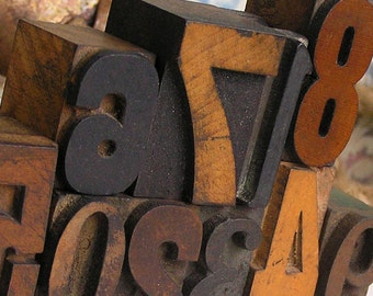 0123456789, a set of antique letterpress digits, home decor, antique, gorgeously old, coolvintage, printing press, days gone by,K