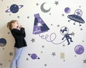 Outer Space Girl Wall Decal Space Walk Personalized Name for Space Theme Baby Nursery Children's Room