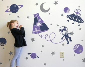 Outer Space Girl Wall Decal Space Walk Personalized Name for Space Theme Baby Nursery Room