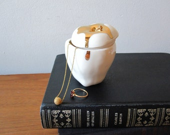 Apple Trinket Box with 14k gold drip - White