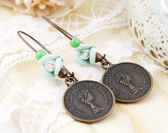 Coin dangle earrings - clay flower, alloy charm and jade