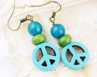 He Ping earrings - dyed jade and howlite