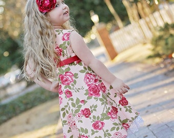 Girl dress flower girl wedding red pink lace dress