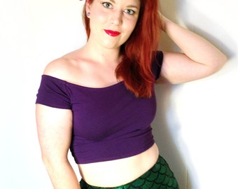 Purple Mermaid Top READY TO SHIP // Mermaid Princess Ariel Cosplay Shirt // Purple Crop Top