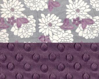 Minky Baby Blanket Girl, Flowers Violet Purple Gray Personalized Baby Blanket - Nursery Decor Girl