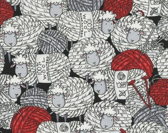 Sheep Knitting 100% Cotton Fabric by the Yard- Woolly Sheep! 3587 Yarn Ball Sheep!
