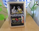 Vintage Marijuana Poster Cigarette or Card Case Wallet or Tin