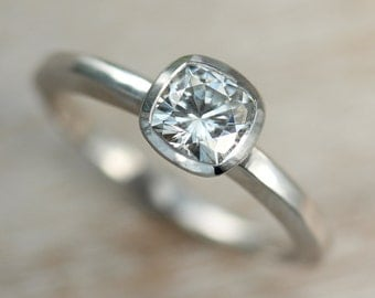 5mm Cushion Cut Moissanite Engagement Ring - Unique Solitaire Engagement Ring - Available in Palladium or Gold with a Matte or Shiny Finish