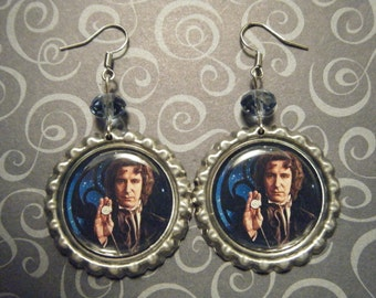The Eighth Doctor Paul McGann Doctor Who inspired bottle cap earrings with blue glass beads