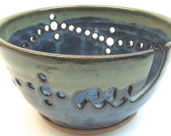 XXL Ceramic Yarn Bowl Knitting Bowl Midnight Blue and foggy green rim Made to Order