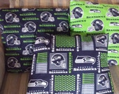 Set of 3 12 inch  Seattle Seahawks pillows made and ready to ship