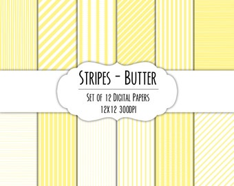 Butter Stripes Digital Scrapbook Paper 12x12 Pack - Set of 12 - Instant Download - Item#8205