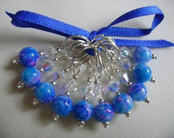 Blue Fuschia Fleck Stitch Markers for Knitting or Crochet