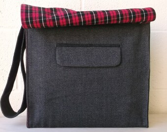 Charcoal Gray Wool Large Messenger Bag