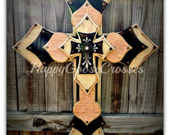 Wall Cross - Wood Cross - X-Large - 5 layers - Antiqued Beige and Black with Religious wording