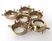 Prong Setting Antiqued Brass Square Octagon Rhinestone Open Back 2 Ring Connector Vintage Style 12mm set0337 (6)