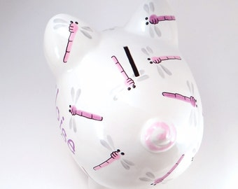 Pink & Purple Dragonfly Piggy Bank - Personalized Dragonfly Piggy Bank - Girl's Piggy Bank - Bug Bank - with hole or NO hole in bottom