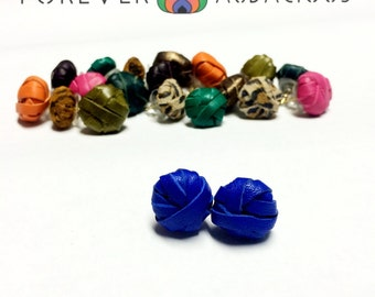 VANITY SPHERES (Genuine Leather Handcrafted Studs-Earrings)-FREE Gift w/ Purchase