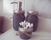 Painted Mason Jar Bathroom Set. Painted and distressed mason jars.
