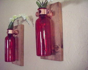 Wall Decor set of 2 colored glass bottles on rustic wood board. Home decor. Bedroom decor. Housewarming gift. Wedding gift.