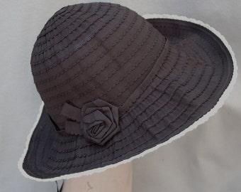 Resort Hat / Black Hat / Womens Hat / Black Crushable Fabric Hat /  Sun Hat / Travel Hat / Brim Hat / Ribbon Fabric Hat