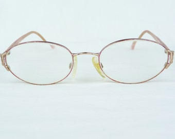 vintage eyeglasses, Eye Mail, gold metal frames, pink pearl arms, vintage eyewear, vintage glasses, Womens glasses, flex arm glasses, pretty