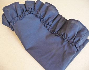 Vintage Pillowcase, Blue Pillow Sham, ruffled pillowcase, vintage bedding, vintage linens, unique pillowcase, vintage home decor,dark blue