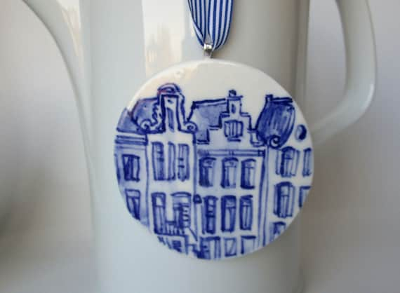Blue Delft Canal Houses - Handpainted  Porcelain Ornament/ Wall Hanging