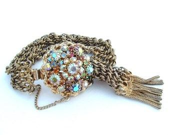 Rhinestone Bracelet, WOW Multi Chain Fringe Rhinestone Cluster Tassel Cuff Wrap Bracelet Women's Antique Jewelry