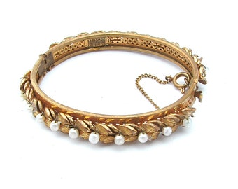 Signed MIRIAM HASKELL Bracelet, Glass Pearl White Bead Gold Leaf Hinged Bangle Bracelet Designer Vintage Jewelry