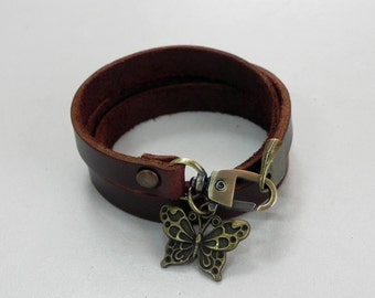Charm Brown Leather Bracelet Leather Charm Bracelet Leather Cuff with Metal Butterfly Charm Bronze Tone