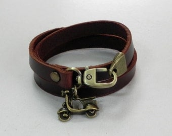Leather Bracelet Women Bracelet Leather Cuff Bracelet Leather Charm bracelet in Brown Color with Metal Scooter Charm