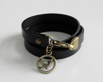 Black Leather Bracelet Leather Charm Bracelet Leather Cuff with Metal Bird Charm