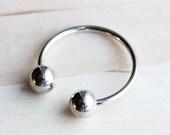 Silver Horseshoe Ball Keychain