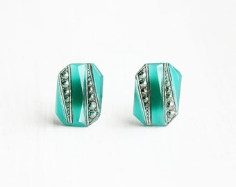 Deco Green Studs, Deco Emerald Studs, Emerald Studs, Green Glass Studs, Green Crystal Studs, Rectangle Studs, Emerald Shape Studs, Studs