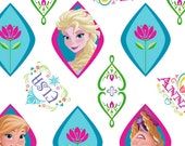 FABRIC - by the yard - Disney Frozen Fabric - Exclusive Frozen Anna and Elsa Ogee