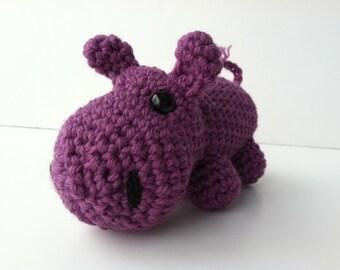 Amigurumi Crochet Orchid Purple Hippo Plush Toy Kawaii Plush Hippo Stuffed Animal Hippo Plushie Hippo Crochet Animal Hippo Gift Under 25