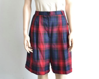 80s Vintage Wool Plaid Shorts NWT / High Waist Pleated Red and Blue Plaid Preppy Shorts - 27 1/2 inch waist
