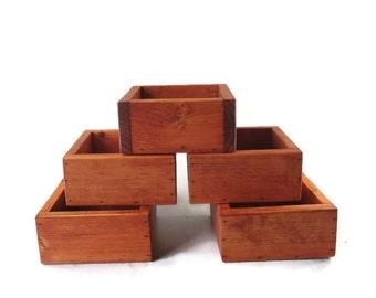 Succulent Centerpiece Set of 5 planters - Wedding Decor - Wood Box