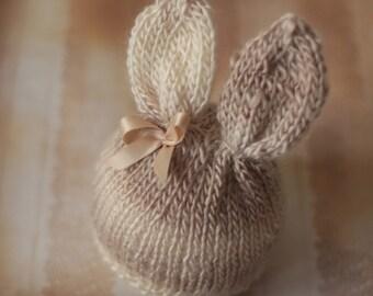 Sweet Bunny Ears Hat Detachable Bow - newborn baby photo prop