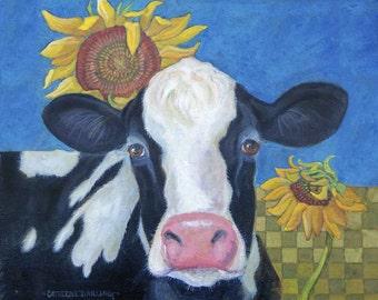 Cow Sunflower Original painting PRINT, 8 x 10 of Original Painting signed
