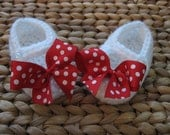 Sweet Little White Baby Mary Janes with Red and White Polka Dot Bows 3-6 Months - free shipping included!
