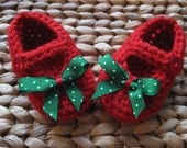 Sweet Little Red Baby Mary Janes with Red White and Green Christmas Polka Dot Bows 0-3 Months - free shipping included