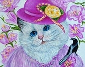 Fine Art Giclee Prints Animal Prints Dogs Cats All Animals from Original Little Miss Pinkett  by k Madison Moore