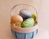 Easter Basket and Five Wooden Eggs Personalized For You !  ON SALE