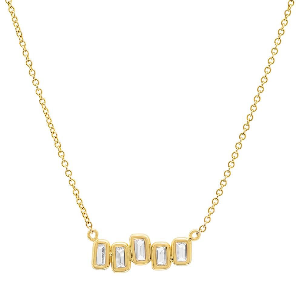 Baguette Diamond Necklace Baguette Pendant 14k Gold